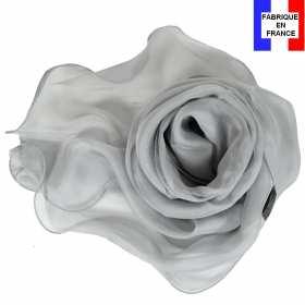 Foulard soie gris bords ondulés fabriqué en France