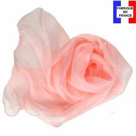 Foulard soie rose clair bords ondulés fabriqué en France