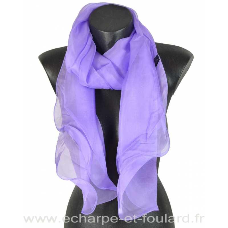 Foulard soie mauve bords ondulés fabriqué en France