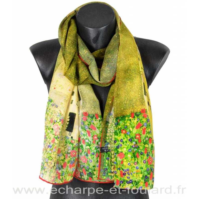 Echarpe crêpe de soie Le baiser Klimt