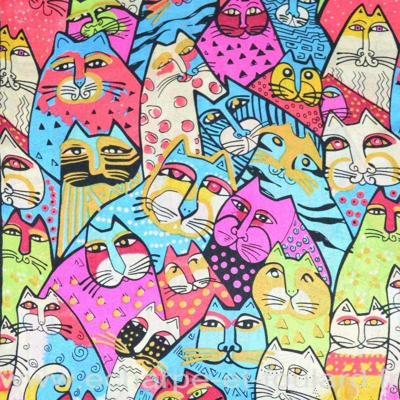 Echarpe en soie dessin naif de chats
