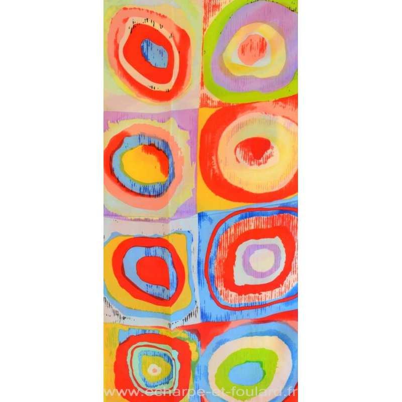 Echarpe en soie cercles Kandinsky