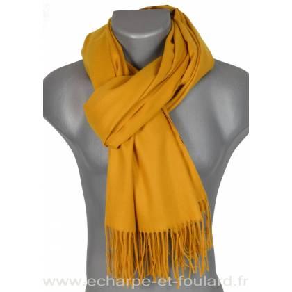 Echarpe très douce cachemire-laine jaune 706eb64c224