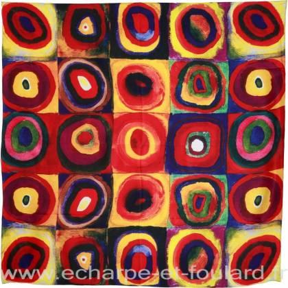Carré soie impression digitale multicolore cercles