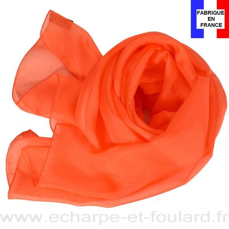 Echarpe mousseline soie orange fabriquée en France