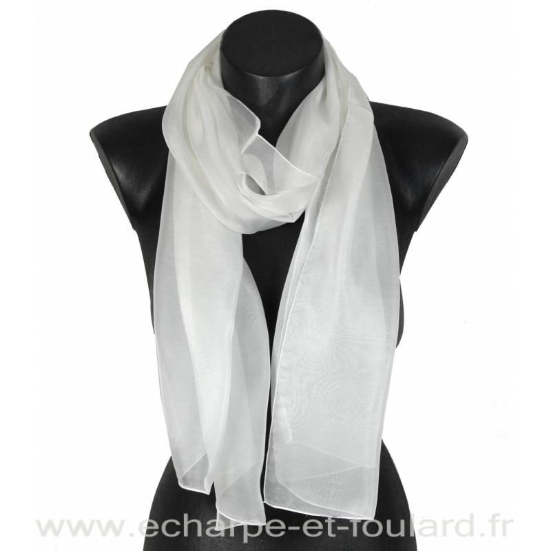 Echarpe mousseline soie blanche fabriquée en France