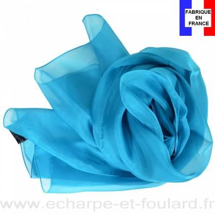 Echarpe mousseline soie bleu lagon fabriquée en France
