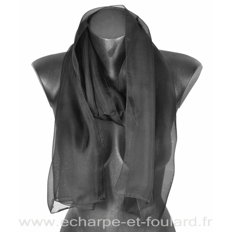 Echarpe mousseline soie noire fabriquée en France