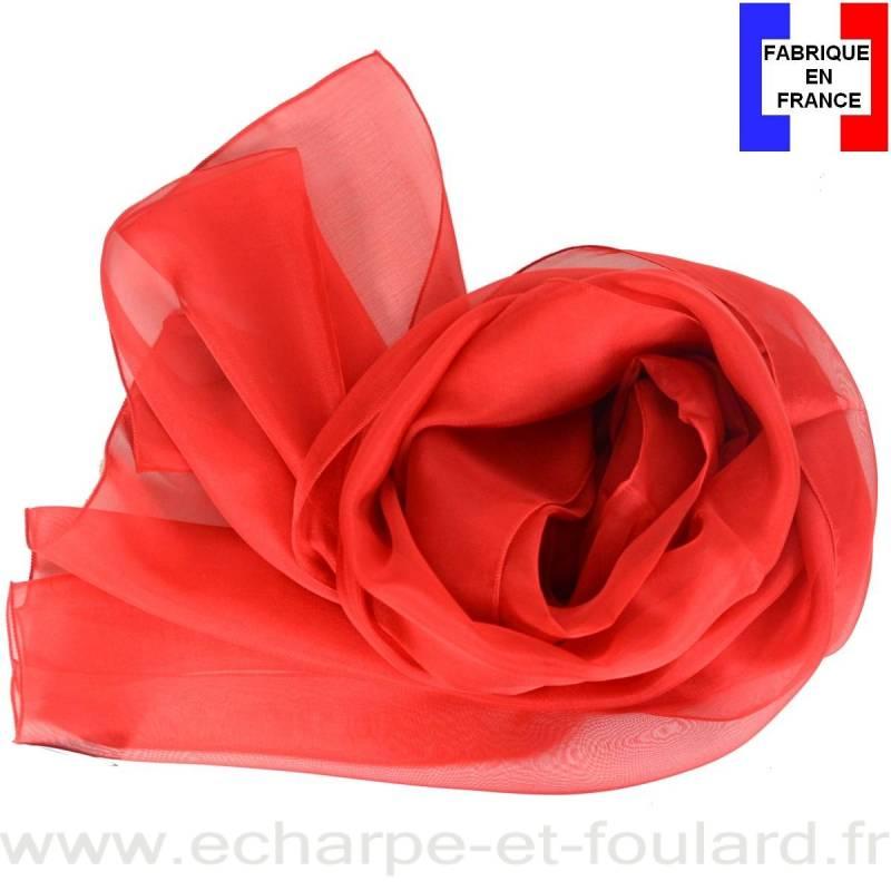 Echarpe mousseline soie rouge fabriquée en France