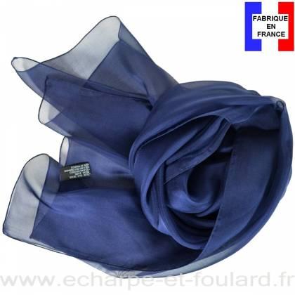 Echarpe mousseline soie bleu marine fabriquée en France