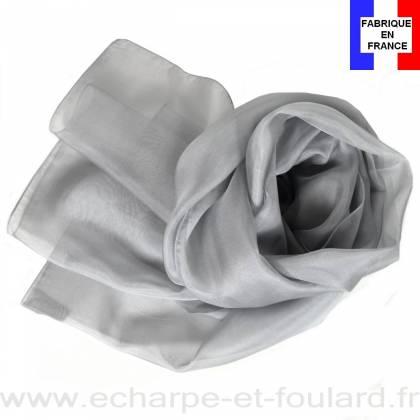 Echarpe mousseline soie grise fabriquée en France