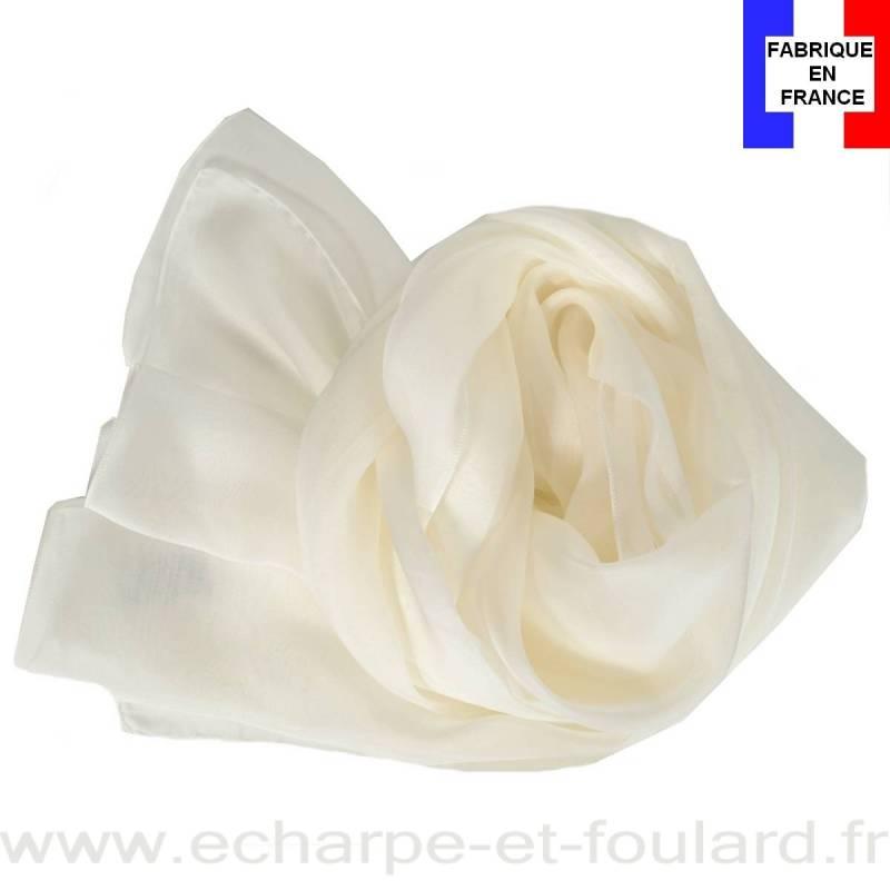 Echarpe mousseline soie écrue fabriquée en France