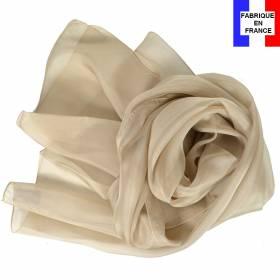 Echarpe mousseline soie beige fabriquée en France