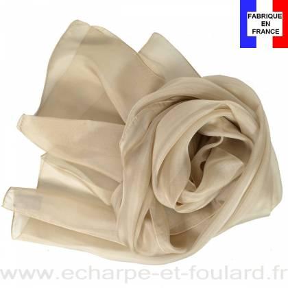 598e693009d Echarpe mousseline soie beige fabriquée en France