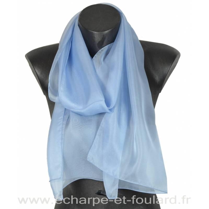 Echarpe mousseline soie bleu ciel fabriquée en France