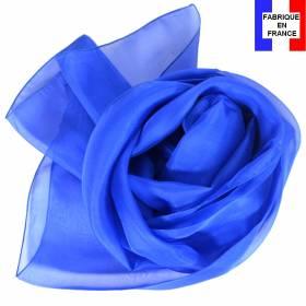 Echarpe mousseline soie bleu électrique fabriquée en France