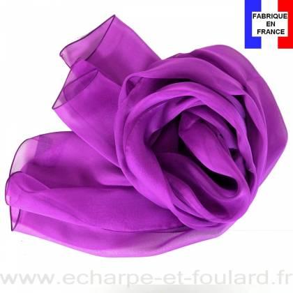 Echarpe mousseline soie magenta fabriquée en France