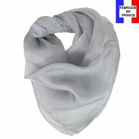 Carré mousseline soie gris fabriquée en France