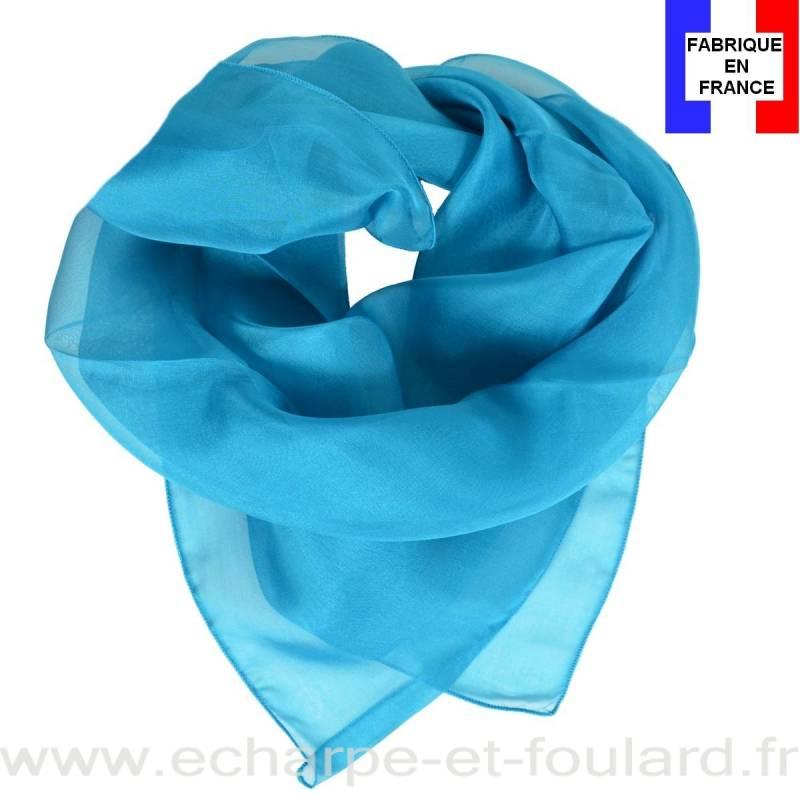 Carré mousseline bleu fabriqué en France