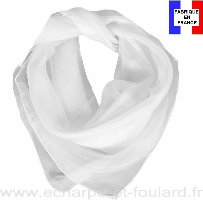 Carré mousseline blanc fabriqué en France