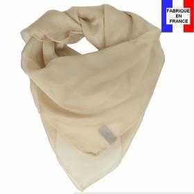 Carré mousseline beige fabriqué en France