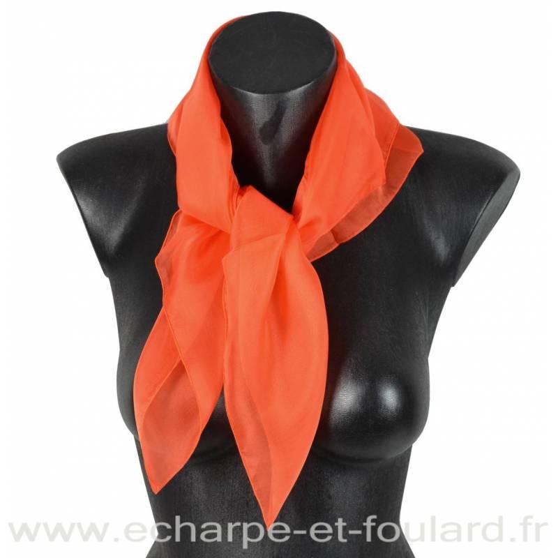 Carré mousseline orange fabriqué en France