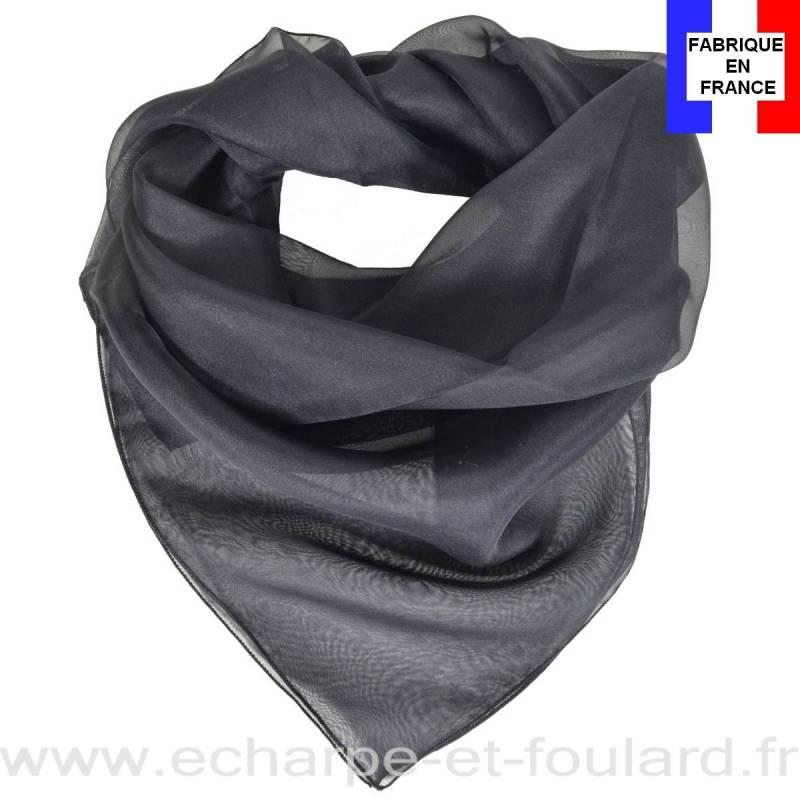 Carré mousseline noir fabriqué en France