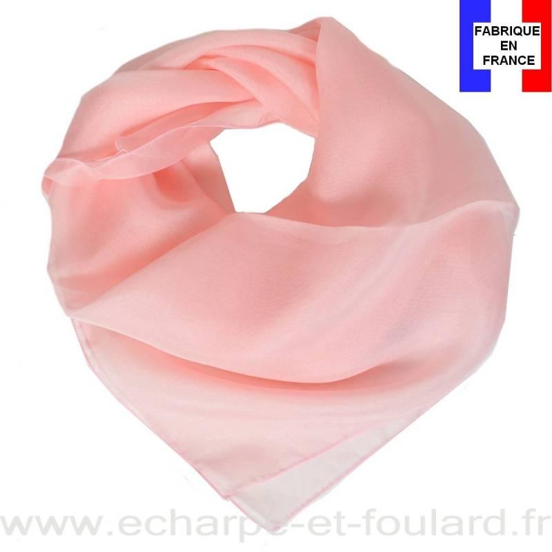 Carré mousseline rose clair fabriqué en France
