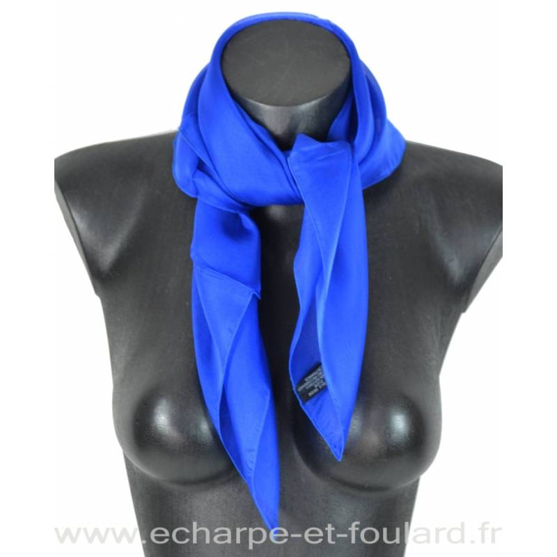 Carré mousseline bleu électrique fabriqué en France