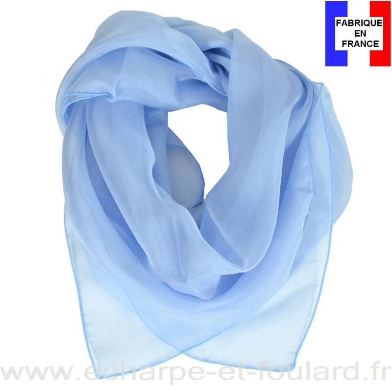 Carré mousseline bleu ciel fabriqué en France
