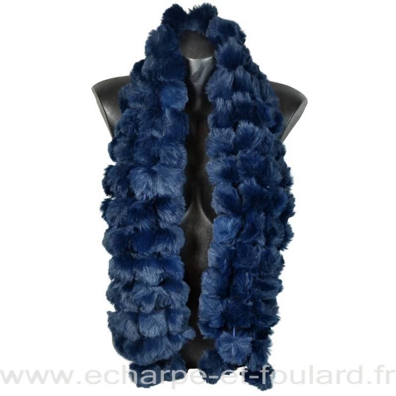 Echarpe fausse fourrure bleue