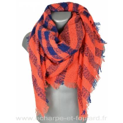 Keffieh d'hiver orange et bleu