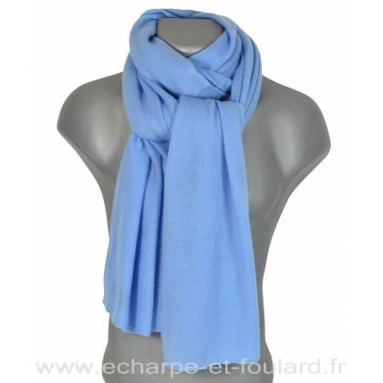 Echarpe en cachemire tricoté bleu-ciel