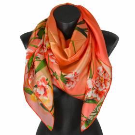 Grand carré de soie orange à fleurs 95c6313eb22