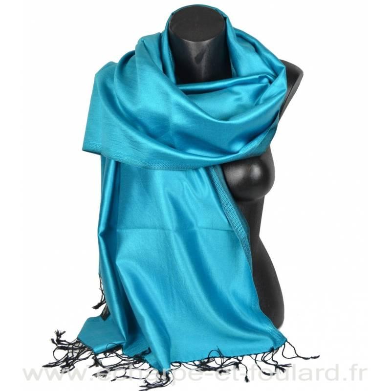 Etole en soie turquoise et noire
