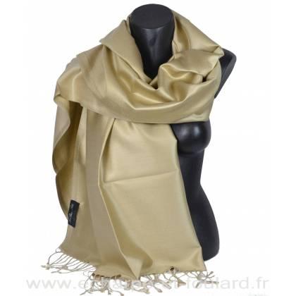 Etole en soie beige