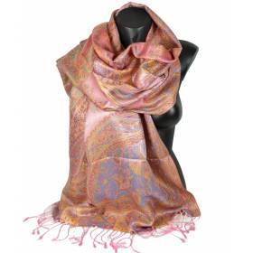 Etole en soie indienne motif cachemire rose et jaune