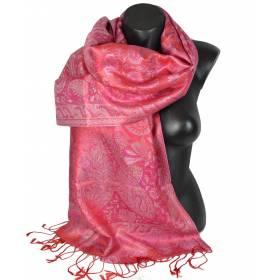 Etole en soie jacquard rouge et rose