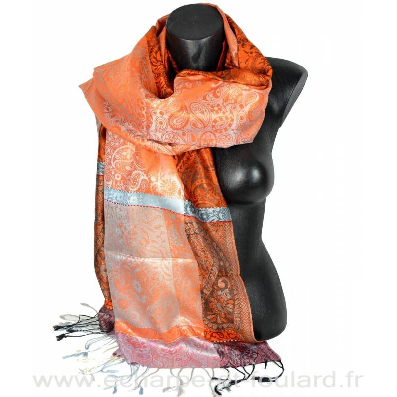 Etole en soie jacquard orange