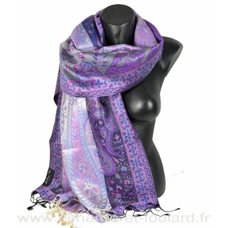 Etole en soie jacquard violette et rose