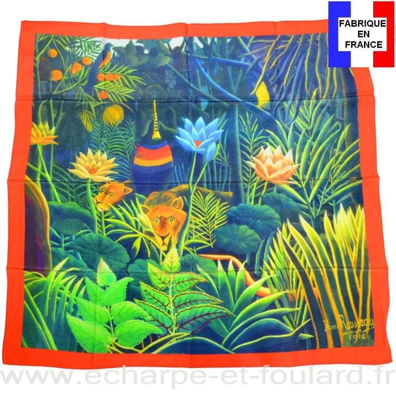 Foulard en soie Rousseau, La jungle