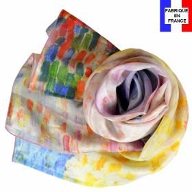 Echarpe soie Signac – Nuages roses Antibes
