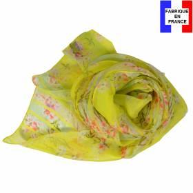 Echarpe de soie jaune à fleurs fabriquée en France