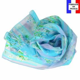 Echarpe de soie bleue à fleurs fabriquée en France