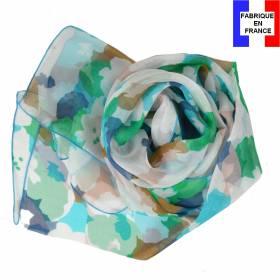 Echarpe de soie abstrait vert fabriquée en France