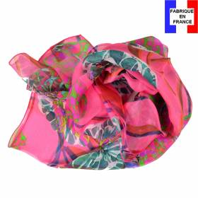 Echarpe de soie pivoine rose fabriquée en France
