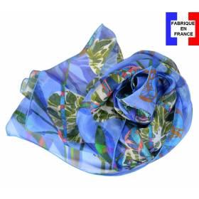 Echarpe de soie pivoine bleue fabriquée en France