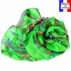 Echarpe de soie pivoine verte fabriquée en France