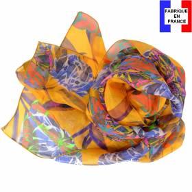 Echarpe de soie pivoine jaune fabriquée en France