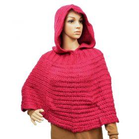 Poncho à capuche rose